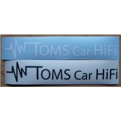 Schriftaufkleber Toms Car HiFi (Logo) weiß