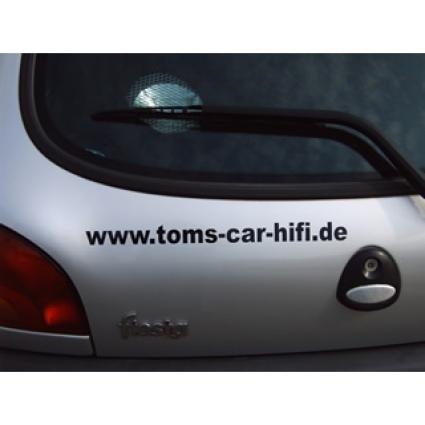 Schriftaufkleber www.toms-car-hifi.de, schwarz