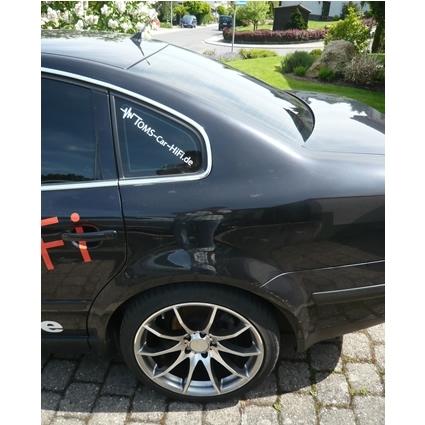 Schriftaufkleber Toms Car HiFi (Logo) weiß inkl. .de