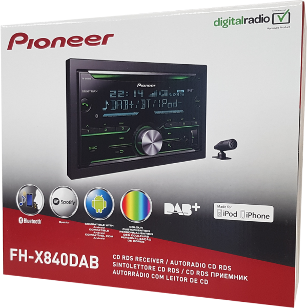 pioneer fh x840dab fh x840dab 2 din autoradios. Black Bedroom Furniture Sets. Home Design Ideas