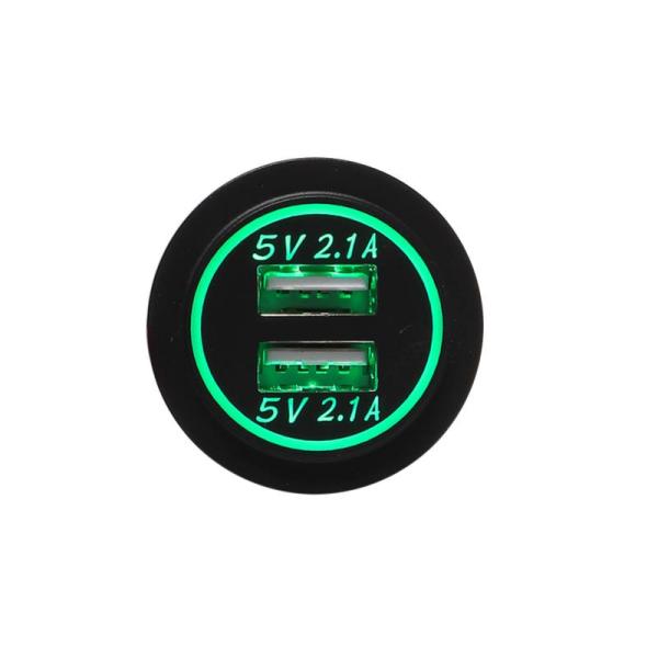 USB Ladeadapter 12V/24V 4.2A zur Installation / grün