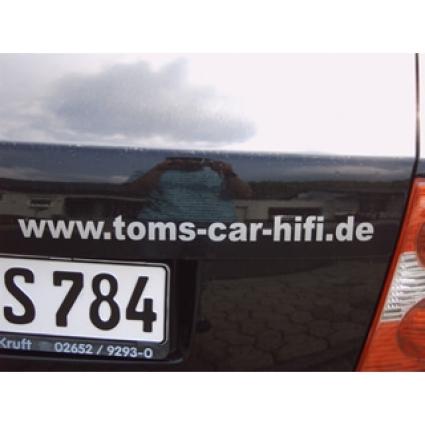 Schriftaufkleber www.toms-car-hifi.de, silber